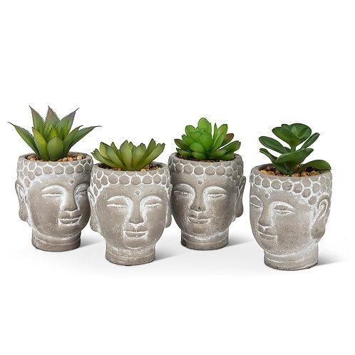 Artificial succulent in Buddha pot