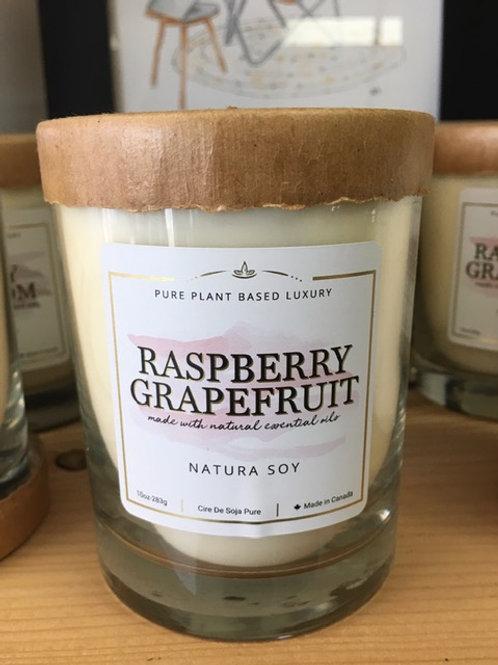 Raspberry Grapefruit candle - Natura Soy - 10oz.