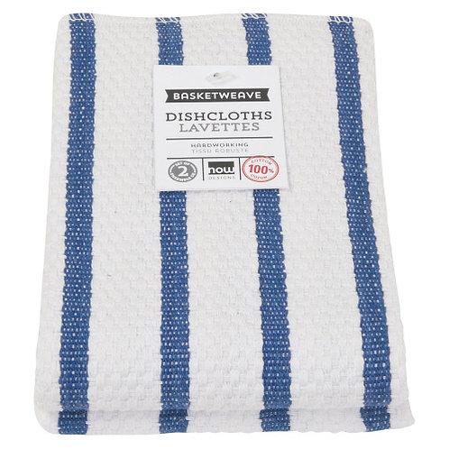 Dishcloths, Royal Blue/White, set of 2