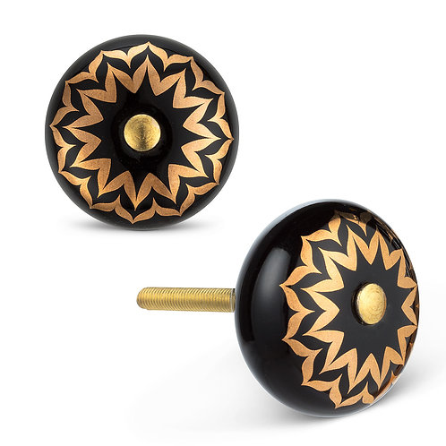 Drawerknob - black/gold flower