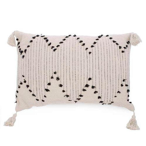 Pillow - lumbar, natural with black, tassel trim