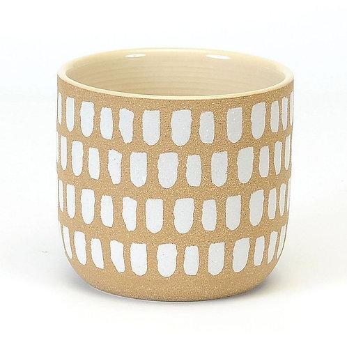 Plant pot, white brush strokes LARGE