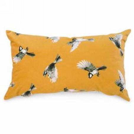 Pillow - lumbar - mustard with bird motif