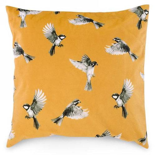 """Pillow - mustard with bird motif  17""""x17"""""""