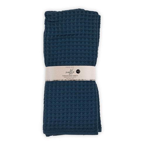 Waffle hand towels, pack of 2 - MARINE