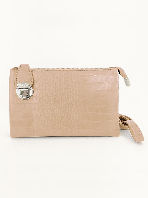 Beige 'croc' crossbody bag