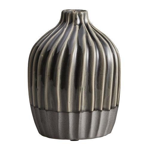 Vase - ribbed grey (large)