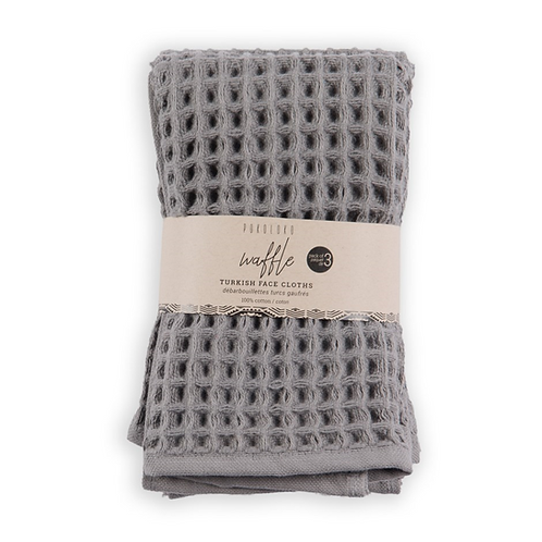 Waffle face cloths, pack of 3 - Dark Grey