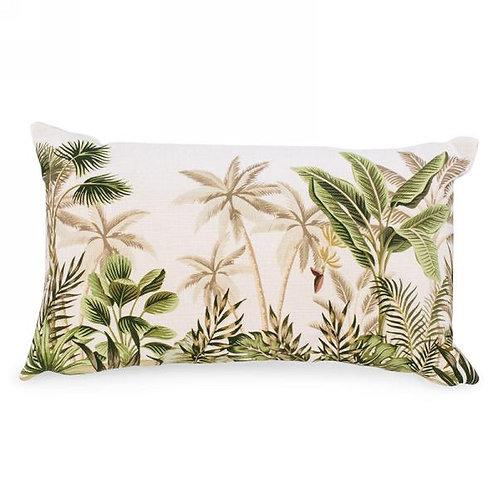 Lumbar pillow with palm tree print
