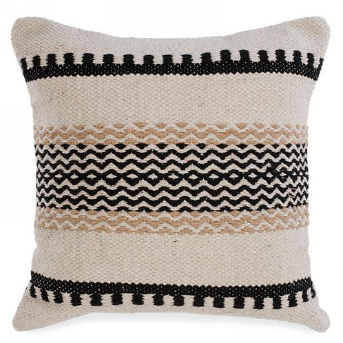 Pillow - black & natural woven  17x17