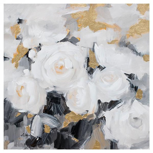 Canvas art - flowers on gold