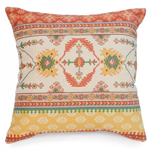 "Pillow - orange & yellow motif   17""x17"""