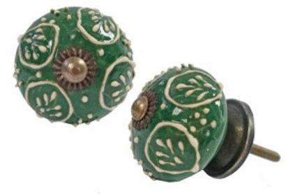 Drawerknob - green leaf ceramic