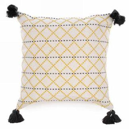 "Pillow - yellow & grey  17""x17"""