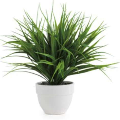 Artificial faux grass potted plant