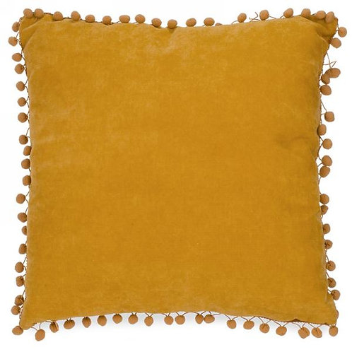"""Pillow - mustard with pompoms  17""""x17"""""""