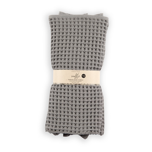 Waffle hand towels, pack of 2 -  GREY