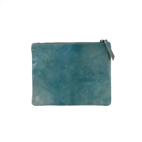 Leather Pouch - blue