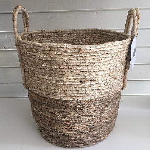 Straw basket, natural base, cream top - LARGE