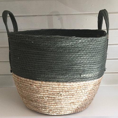 Straw basket, green top, natural base - LARGE