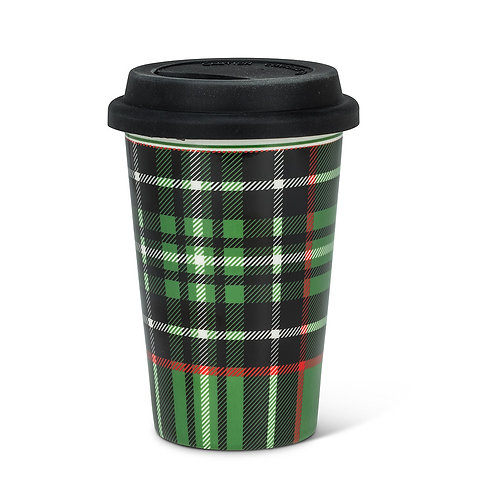 Plaid Takeaway Cup, black/green