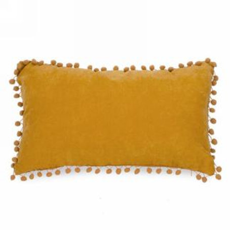 Pillow - lumbar with pompoms MUSTARD