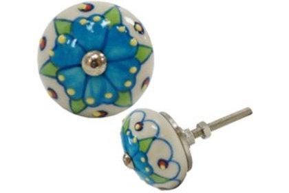Drawerknob - Blue, floral
