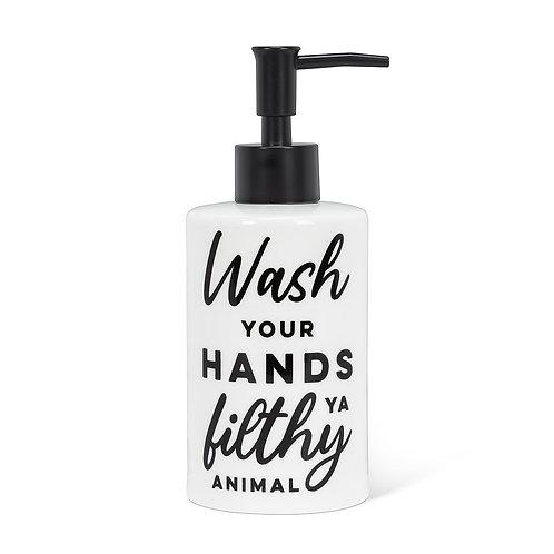 'Wash your hands ya filthy animal' pump