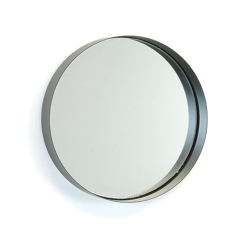"Black metal mirror  15-3/4"" dia"