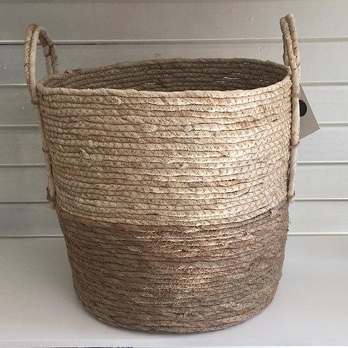 Straw basket, natural base, cream top - MEDIUM