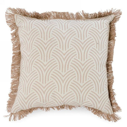 Pillow - rubberized print, jute trim