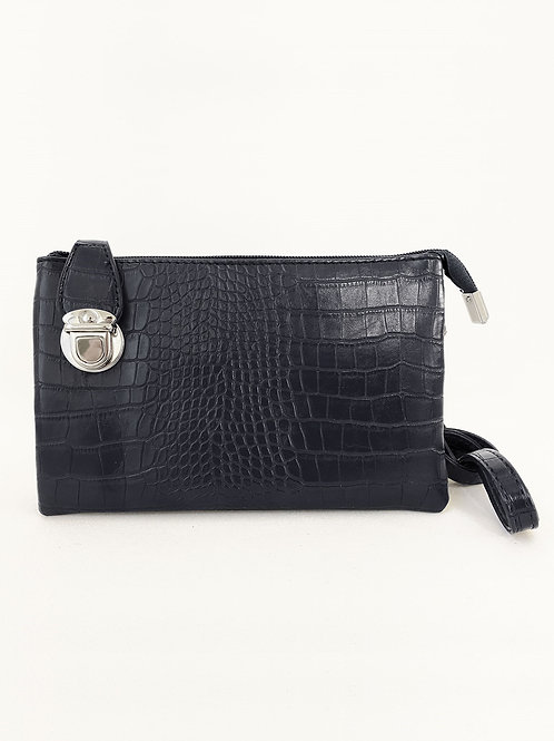 Black 'croc' crossbody bag
