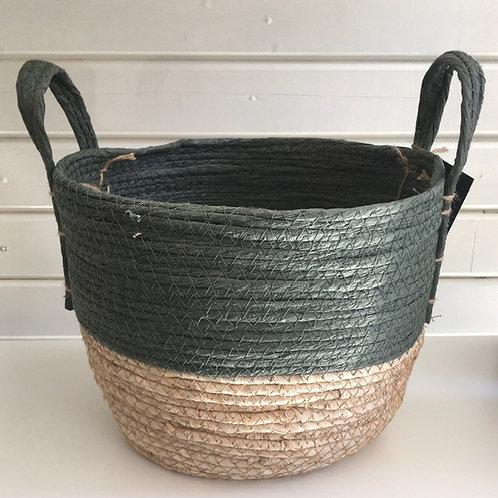Straw basket, green top, natural base - SMALL