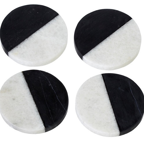Coaster set - black/white marble (set of 4)