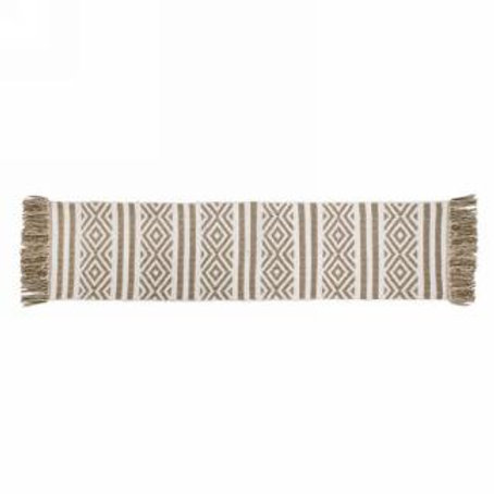 """Table runner - taupe/white  15""""x60"""""""