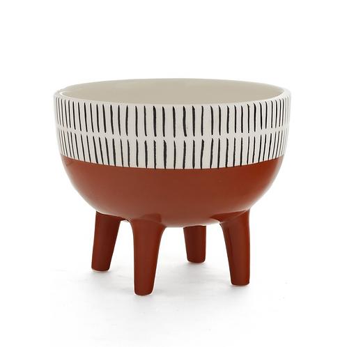 Planter - medium, ceramic, white/black 'Archie'
