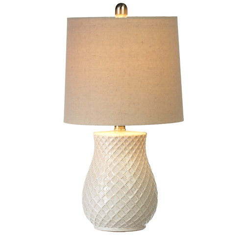 Lamp - ivory embossed diamond pattern