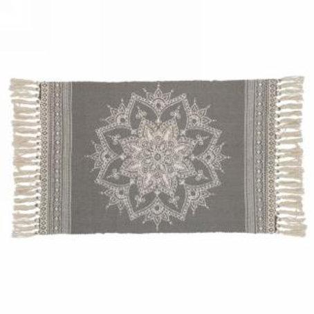 "Carpet - grey with ornate motif  23"" x 42"""