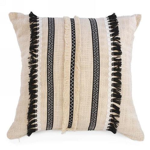 Pillow - natural, black fringe & ribbon