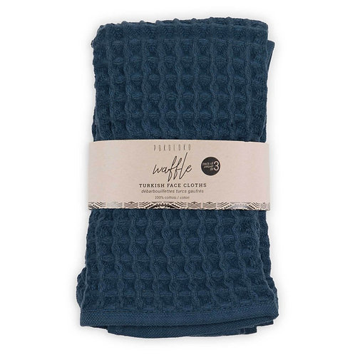 Waffle face cloths, pack of 3 - MARINE