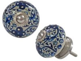 Drawerknob - dark blue floral