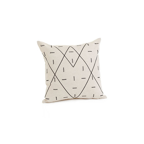 Pillow - 'Shayla', natural/black  17""