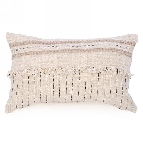 """Pillow - beige with fringe, 19""""x12"""""""
