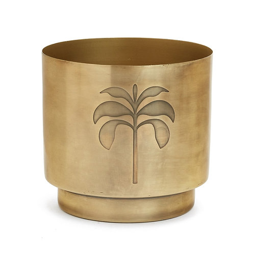 Plant pot with palm tree; metal