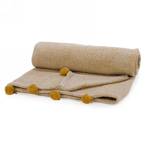 Blanket - mustard yellow with pompoms
