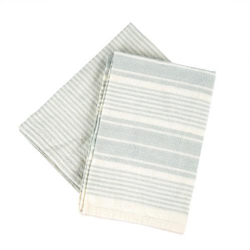 French Linen tea towels - aqua (set of 2)