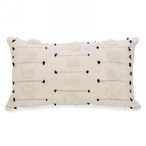 """Pillow - natural & black, tufted.  20""""x12"""""""