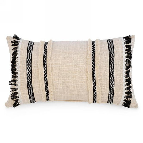Pillow - natural & black tassel trim, lumbar