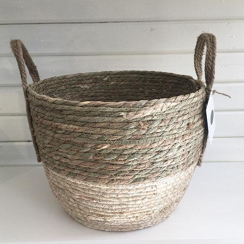 Cream colored straw basket - SMALL