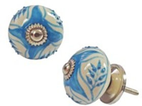Drawerknob - blue leaf design